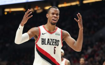 PORTLAND, OREGON - DECEMBER 04: Rodney Hood #5 of the Portland Trail Blazers reacts in the fourth quarter against the Sacramento Kings during their game at Moda Center on December 04, 2019 in Portland, Oregon. NOTE TO USER: User expressly acknowledges and agrees that, by downloading and or using this photograph, User is consenting to the terms and conditions of the Getty Images License Agreement (Photo by Abbie Parr/Getty Images)