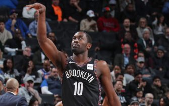 BROOKLYN, NY - JANUARY 25:  Theo Pinson #10 of the Brooklyn Nets looks on against the New York Knicks on January 25, 2019 at Barclays Center in Brooklyn, New York. NOTE TO USER: User expressly acknowledges and agrees that, by downloading and or using this Photograph, user is consenting to the terms and conditions of the Getty Images License Agreement. Mandatory Copyright Notice: Copyright 2019 NBAE (Photo by Nathaniel S. Butler/NBAE via Getty Images)