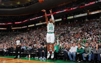 BOSTON, MA - JANUARY 6: Ray Allen #20 of the Boston Celtics shoots a three point shot against the Indiana Pacers on January 6, 2012 at the TD Garden in Boston, Massachusetts.  NOTE TO USER: User expressly acknowledges and agrees that, by downloading and or using this photograph, User is consenting to the terms and conditions of the Getty Images License Agreement. Mandatory Copyright Notice: Copyright 2012 NBAE  (Photo by Brian Babineau/NBAE via Getty Images)