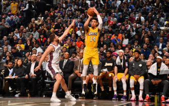 BROOKLYN, NY - JANUARY 23: Danny Green #14 of the Los Angeles Lakers shoots a three-pointer against the Brooklyn Nets on January 23, 2020 at Barclays Center in Brooklyn, New York. NOTE TO USER: User expressly acknowledges and agrees that, by downloading and or using this Photograph, user is consenting to the terms and conditions of the Getty Images License Agreement. Mandatory Copyright Notice: Copyright 2020 NBAE (Photo by Jesse D. Garrabrant/NBAE via Getty Images)