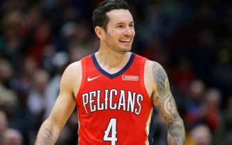 NEW ORLEANS, LOUISIANA - NOVEMBER 14: JJ Redick #4 of the New Orleans Pelicans reacts during a game against the LA Clippers at the Smoothie King Center on November 14, 2019 in New Orleans, Louisiana. NOTE TO USER: User expressly acknowledges and agrees that, by downloading and or using this Photograph, user is consenting to the terms and conditions of the Getty Images License Agreement.  (Photo by Jonathan Bachman/Getty Images)