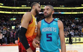 SALT LAKE CITY, UT - JANUARY 10: Rudy Gobert #27 of the Utah Jazz talks with Nicolas Batum #5 of the Charlotte Hornets after the game on January 10, 2020 at Vivint Smart Home Arena in Salt Lake City, Utah. NOTE TO USER: User expressly acknowledges and agrees that, by downloading and or using this Photograph, User is consenting to the terms and conditions of the Getty Images License Agreement. Mandatory Copyright Notice: Copyright 2020 NBAE (Photo by Melissa Majchrzak/NBAE via Getty Images)
