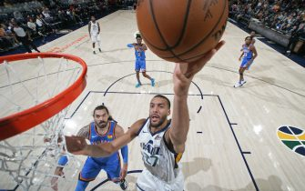 SALT LAKE CITY, UT - OCTOBER 23: Rudy Gobert #27 of the Utah Jazz shoots the ball against the Oklahoma City Thunder on October 23, 2019 at Vivint Smart Home Arena in Salt Lake City, Utah. NOTE TO USER: User expressly acknowledges and agrees that, by downloading and or using this Photograph, User is consenting to the terms and conditions of the Getty Images License Agreement. Mandatory Copyright Notice: Copyright 2019 NBAE (Photo by Melissa Majchrzak/NBAE via Getty Images)
