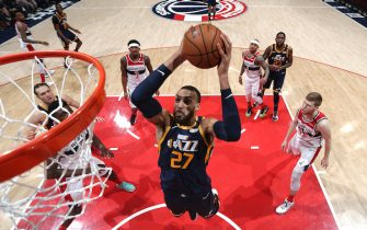 WASHINGTON, DC - JANUARY 12: Rudy Gobert #27 of the Utah Jazz drives to the basket during the game against the Washington Wizards on January 12, 2029 at Capital One Arena in Washington, DC. NOTE TO USER: User expressly acknowledges and agrees that, by downloading and or using this Photograph, user is consenting to the terms and conditions of the Getty Images License Agreement. Mandatory Copyright Notice: Copyright 2020 NBAE (Photo by Ned Dishman/NBAE via Getty Images)