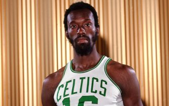 """BOSTON - 1972:  Tom """"Satch"""" Sanders #16 of the Boston Celtics poses for a portrait in 1972 at the Boston Garden in Boston, Massachusetts. NOTE TO USER: User expressly acknowledges and agrees that, by downloading and or using this photograph, User is consenting to the terms and conditions of the Getty Images License Agreement. Mandatory Copyright Notice: Copyright 1972 NBAE (Photo by Dick Raphael/NBAE via Getty Images)"""