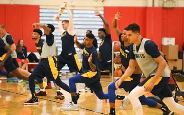 COLORADO SPRINGS, CO - SEPTEMBER 30: Denver Nuggets warms up during training camp on September 30, 2019 at the US Olympic Training Center in Colorado Springs, Colorado. NOTE TO USER: User expressly acknowledges and agrees that, by downloading and/or using this Photograph, user is consenting to the terms and conditions of the Getty Images License Agreement. Mandatory Copyright Notice: Copyright 2019 NBAE (Photo by Garrett W. Ellwood/NBAE via Getty Images)