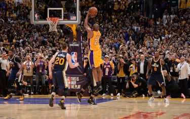 LOS ANGELES, CA - APRIL 13:  Kobe Bryant #24 of the Los Angeles Lakers scores the final field goal of his career during the game against the Utah Jazz at STAPLES Center on April 13, 2016 in Los Angeles, California. NOTE TO USER: User expressly acknowledges and agrees that, by downloading and/or using this Photograph, user is consenting to the terms and conditions of the Getty Images License Agreement. Mandatory Copyright Notice: Copyright 2016 NBAE (Photo by Andrew D. Bernstein/NBAE via Getty Images)