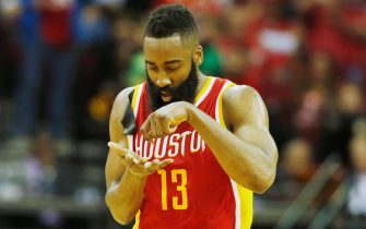HOUSTON, TX - MARCH 19:   James Harden #13 of the Houston Rockets battles for a rebound with Wilson Chandler #21 of the Denver Nuggets during their game at the Toyota Center on March 19, 2015 in Houston, Texas. NOTE TO USER: User expressly acknowledges and agrees that, by downloading and/or using this photograph, user is consenting to the terms and conditions of the Getty Images License Agreement. (Photo by Scott Halleran/Getty Images) *** Local Caption *** James Harden; Wilson Chandler