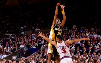 NEW YORK- JUNE 1:  Reggie Miller #31 of the Indiana Pacers shoots a jump shot over John Starks #3 of the New York Knicks in Game Five of the Eastern Conference Semifinals during the 1994 NBA Playoffs at Madison Square Garden on June 1, 1994 in New York, New York.  The Pacers won 93-86.  NOTE TO USER: User expressly acknowledges and agrees that, by downloading and or using this photograph, User is consenting to the terms and conditions of the Getty Images License Agreement. Mandatory Copyright Notice: Copyright 1994 NBAE (Photo by Lou Capozzola/NBAE via Getty Images)