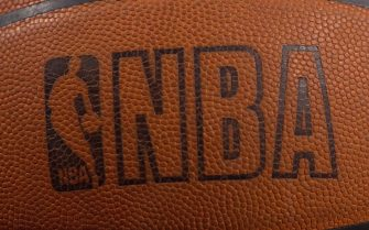 26 Feb 2001:  Photo of the NBA logo on a Spalding basketball at the First Union Center in Philadelphia, Pennsylvania. <Digital File> Mandatory Credit: Doug Pensinger/ALLSPORT.  NOTE TO USER: It is expressly understood that the only rights Allsport are offering to license in this Photograph are one-time, non-exclusive editorial rights. No advertising or commercial uses of any kind may be made of Allsport photos.  User acknowledges that it is aware that Allsport is an editorialsports agency and that NO RELEASES OF ANY TYPE ARE OBTAINED from the subjects contained in the photographs.