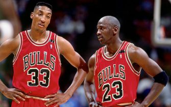 PHILADELPHIA - 1992:  Michael Jordan #23 of the Chicago Bulls talks with teammate Scottie Pippen #33 during a game against the Philadelphia 76ers in 1992 at the Spectrum in Philadelphia, Pennsylvania.  NOTE TO USER: User expressly acknowledges and agrees that, by downloading and/or using this Photograph, user is consenting to the terms and conditions of the Getty Images License Agreement.  Mandatory Copyright Notice:  Copyright 1992 NBAE  (Photo by Nathaniel S. Butler/NBAE via Getty Images)