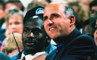 LOS ANGELES - 1992:  Agent David Falk sits with Michael Jordan of the Chicago Bulls in 1992 in Los Angeles, California.  NOTE TO USER:User expressly acknowledges and agrees that, by downloading and/or using this Photograph, user is consenting to the terms and conditions of the Getty Images License Agreement. Mandatory Copyright Notice: Copyright 1992 NBAE (Photo by Andrew D. Bernstein/NBAE via Getty Images)