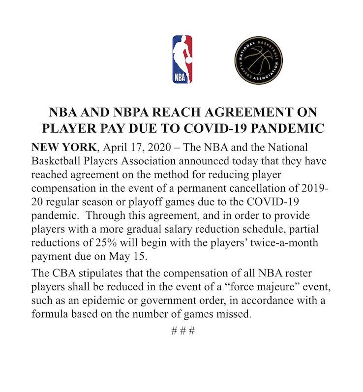Il comunicato ufficiale della NBA