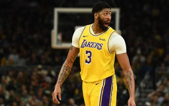 MILWAUKEE, WISCONSIN - DECEMBER 19:  Anthony Davis #3 of the Los Angeles Lakers reacts to an officials call during a game against the Milwaukee Bucks at Fiserv Forum on December 19, 2019 in Milwaukee, Wisconsin. NOTE TO USER: User expressly acknowledges and agrees that, by downloading and or using this photograph, User is consenting to the terms and conditions of the Getty Images License Agreement. (Photo by Stacy Revere/Getty Images)