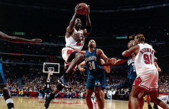 CHICAGO - 1998:  Michael Jordan #23 of the Chicago Bulls drives to the basket against the Charlotte Hornets during Game One, round two of the 1998 NBA Playoffs at the United Center in Chicago, Illinois.  NOTE TO USER: User expressly acknowledges and agrees that, by downloading and/or using this Photograph, User is consenting to the terms and conditions of the Getty Images License Agreement.  Mandatory Copyright Notice:  Copyright 1998 NBAE  (Photo by Nathaniel S. Butler/NBAE via Getty Images)