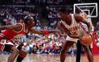 Michael Jordan in difesa su Joe Dumars