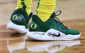LAS VEGAS, NEVADA - MARCH 06:  Sabrina Ionescu #20 of the Oregon Ducks wears Nike sneakers that pay tribute to Kobe Bryant, Gianna Bryant and other victims that were killed in a helicopter crash in January as she plays against the Utah Utes during the Pac-12 Conference women's basketball tournament quarterfinals at the Mandalay Bay Events Center on March 6, 2020 in Las Vegas, Nevada. The Ducks defeated the Utes 79-59.  (Photo by Ethan Miller/Getty Images)