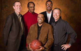 PORTLAND, OR - APRIL 17:  Former Portland Trail Blazer teammates from left to right are Larry Steele, Lloyd Neal, Lionel Hollins, Maurice Lucas, and Dave Twardzik pose for a photo at the Rose Garden Arena in Portland, Oregon.  The Trail Blazers retired Lionel Hollins jersey in conjunction with the 30-year anniversary of the team's 1977 NBA Championship.  NOTE TO USER:  User expressly acknowledges and agrees that, by downloading and/or using this photograph, User is consenting to the terms and conditions of the Getty Images License Agreement. Mandatory Copyright Notice: Copyright 2007 NBAE  (Photo by Sam Forencich/NBAE via Getty Images)