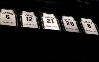 SAN ANTONIO, TX - NOVEMBER 11: A close up shot of Tony Parker's jersey during the Tony Parker jersey retirement ceremony during the Memphis Grizzlies game against the San Antonio Spurs on November 11, 2019 at the AT&T Center in San Antonio, Texas. NOTE TO USER: User expressly acknowledges and agrees that, by downloading and or using this photograph, user is consenting to the terms and conditions of the Getty Images License Agreement. Mandatory Copyright Notice: Copyright 2019 NBAE (Photos by Chris Elise/NBAE via Getty Images)