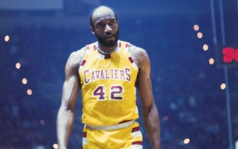 New York, N.Y.: Nate Thurmond, of the Cleveland Cavaliers basketball team, is shown on the court in uniform during a game.