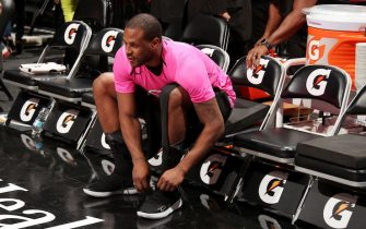 MIAMI, FL - JANUARY 8:  Dion Waiters #11 of the Miami Heat warms up prior to the game against the Denver Nuggets on January 8, 2019 at American Airlines Arena in Miami, Florida. NOTE TO USER: User expressly acknowledges and agrees that, by downloading and or using this Photograph, user is consenting to the terms and conditions of the Getty Images License Agreement. Mandatory Copyright Notice: Copyright 2019 NBAE (Photo by Issac Baldizon/NBAE via Getty Images)