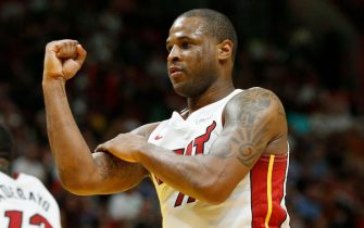 MIAMI, FLORIDA - APRIL 03:  Dion Waiters #11 of the Miami Heat celebrates against the Boston Celtics during the second half at American Airlines Arena on April 03, 2019 in Miami, Florida. NOTE TO USER: User expressly acknowledges and agrees that, by downloading and or using this photograph, User is consenting to the terms and conditions of the Getty Images License Agreement. (Photo by Michael Reaves/Getty Images)