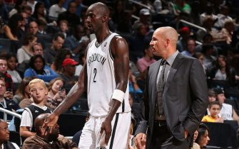 NEW YORK, NY - OCTOBER 12:  Kevin Garnett #2 and Jason Kidd of the Brooklyn Nets walk off against the Detroit Pistons during a preseason game at the Barclays Center on October 12, 2013 in the Brooklyn borough of New York City.  NOTE TO USER: User expressly acknowledges and agrees that, by downloading and/or using this Photograph, user is consenting to the terms and conditions of the Getty Images License Agreement. Mandatory Copyright Notice: Copyright 2013 NBAE (Photo by Nathaniel S. Butler/NBAE via Getty Images)