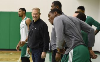 WALTHAM, MA - OCTOBER 11:  Danny Ainge of the Boston Celtics during practice on October 11, 2016 at the Boston Celtics Training facility in Waltham, Massachusetts. NOTE TO USER: User expressly acknowledges and agrees that, by downloading and or using this photograph, User is consenting to the terms and conditions of the Getty Images License Agreement. Mandatory Copyright Notice: Copyright 2016 NBAE  (Photo by Brian Babineau/NBAE via Getty Images)