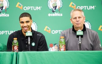 WALTHAM, MA- JUNE 23: Jayson Tatum #11 of the Boston Celtics talks with the media along with Danny Ainge of the Boston Celtics during a introductory press conference on June 23 in Waltham, Massachusetts. NOTE TO USER: User expressly acknowledges and agrees that, by downloading and/or using this Photograph, user is consenting to the terms and conditions of the Getty Images License Agreement. Mandatory Copyright Notice: Copyright 2017 NBAE (Photo by Chris Marion/NBAE via Getty Images)