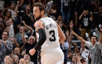 SAN ANTONIO, TEXAS - April 30: Marco Belinelli #3 of the San Antonio Spurs runs down the court against the Los Angeles Clippers during Game Six of the Western Conference Quarterfinals during the NBA Playoffs on April 30, 2015 at Barclays Center in San Antonio, Texas.  NOTE TO USER: User expressly acknowledges and agrees that, by downloading and or using this Photograph, user is consenting to the terms and conditions of the Getty Images License Agreement.  Mandatory Copyright Notice: Copyright 2015 NBAE (Photo by Andrew D. Bernstein/NBAE via Getty Images)
