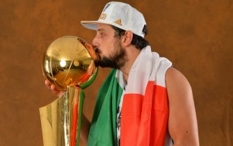 SAN ANTONIO, TX - JUNE 15: Marco Belinelli of the San Antonio Spurs poses for a portrait with the Larry O'Brien Trophy after defeating the Miami Heat in Game Five of the 2014 NBA Finals on June 15, 2014 at AT&T Center in San Antonio, Texas. NOTE TO USER: User expressly acknowledges and agrees that, by downloading and or using this photograph, User is consenting to the terms and conditions of the Getty Images License Agreement. Mandatory Copyright Notice: Copyright 2014 NBAE (Photo by Jesse D. Garrabrant/NBAE via Getty Images)