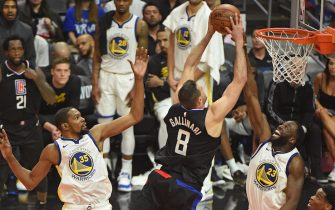 LOS ANGELES, CA - APRIL 26: Danilo Gallinari #8 of the LA Clippers dunks the ball against the Golden State Warriors during Game Six of Round One of the 2019 NBA Playoffs on April 26, 2019 at STAPLES Center in Los Angeles, California. NOTE TO USER: User expressly acknowledges and agrees that, by downloading and/or using this photograph, user is consenting to the terms and conditions of the Getty Images License Agreement. Mandatory Copyright Notice: Copyright 2019 NBAE (Photo by Adam Pantozzi/NBAE via Getty Images)