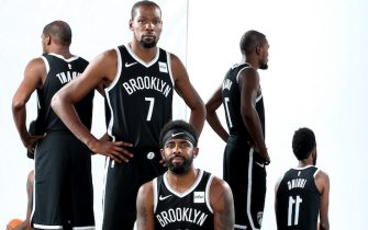 BROOKLYN, NY - SEPTEMBER 27: Kevin Durant #7 and Kyrie Irving #11 of the Brooklyn Nets pose for a portrait during media day on September 27, 2019 at the HSS Training Center in Brooklyn, New York. NOTE TO USER: User expressly acknowledges and agrees that, by downloading and/or using this photograph, user is consenting to the terms and conditions of the Getty Images License Agreement. Mandatory Copyright Notice: Copyright 2019 NBAE (Photo by Nathaniel S. Butler/NBAE via Getty Images)