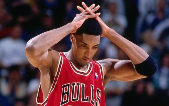 INDIANAPOLIS - MAY 25: Scottie Pippen #33 of the Chicago Bulls looks on during a game played on May 25, 1998 at the Market Square Arena in Indianapolis, Indiana.  NOTE TO USER: User expressly acknowledges and agrees that, by downloading and or using this photograph, User is consenting to the terms and conditions of the Getty Images License Agreement. Mandatory Copyright Notice: Copyright 1998 NBAE  (Photo by Nathaniel S. Butler/NBAE via Getty Images)