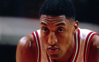 CHICAGO - MARCH 18: Scottie Pippen #33 of the Chicago Bulls looks on  during a game played on March 18, 1997 at the United Center in Chicago, Illinois. NOTE TO USER: User expressly acknowledges and agrees that, by downloading and/or using this photograph, user is consenting to the terms and conditions of the Getty Images License Agreement.  Mandatory Copyright Notice: Copyright 1997 NBAE (Photo by Nathaniel S. Butler/NBAE via Getty Images)