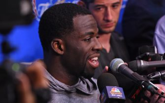 OAKLAND, CA - JUNE 3:  Draymond Green #23 of the Golden State Warriors does and interview during practice and media availability as part of the 2017 NBA Finals on June 3, 2017 at the Warriors Practice Facility in Oakland, California. NOTE TO USER: User expressly acknowledges and agrees that, by downloading and or using this photograph, user is consenting to the terms and conditions of Getty Images License Agreement. Mandatory Copyright Notice: Copyright 2017 NBAE (Photo by Noah Graham/NBAE via Getty Images)