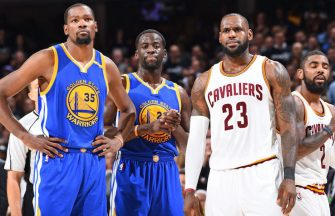 CLEVELAND, OH - JUNE 9:  Kevin Durant #35 and Draymond Green #23 of the Golden State Warriors and LeBron James #23 of the Cleveland Cavaliers during Game Four of the 2017 NBA Finals on June 9, 2017 at Quicken Loans Arena in Cleveland, Ohio. NOTE TO USER: User expressly acknowledges and agrees that, by downloading and/or using this photograph, user is consenting to the terms and conditions of Getty Images License Agreement. Mandatory Copyright Notice: Copyright 2017 NBAE (Photo by Andrew D. Bernstein/NBAE via Getty Images)