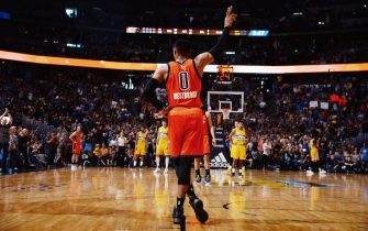 DENVER, CO - APRIL 9:  Russell Westbrook #0 of the Oklahoma City Thunder acknowledges the crowd after breaking the NBA record for the most triple doubles in a season during the game against the Denver Nuggets on April 9, 2017 at the Pepsi Center in Denver, Colorado. NOTE TO USER: User expressly acknowledges and agrees that, by downloading and/or using this Photograph, user is consenting to the terms and conditions of the Getty Images License Agreement. Mandatory Copyright Notice: Copyright 2017 NBAE (Photo by Bart Young/NBAE via Getty Images)