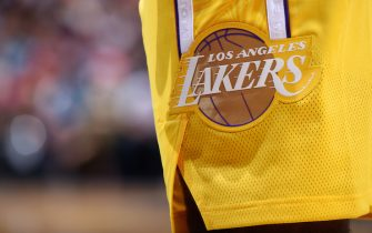 MIAMI, FL - DECEMBER 13:  A closeup shot of the Los Angeles Lakers logo on their respective uniform during a game against the Miami Heat on December 13, 2019 at the American Airlines Arena in Miami, Florida. NOTE TO USER: User expressly acknowledges and agrees that, by downloading and or using this photograph, User is consenting to the terms and conditions of the Getty Images License Agreement. Mandatory Copyright Notice: Copyright 2019 NBAE (Photo by Brian Babineau/NBAE via Getty Images)