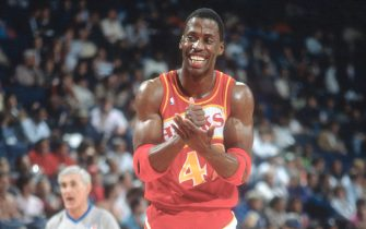 LANDOVER, MD - CIRCA 1989:  Kevin Willis #42 of the Atlanta Hawks looks on smiling against the Washington Bullets during an NBA basketball game circa 1989 at the Capital Centre in Landover, Maryland. Willis played for the Hawks from 1984-94 and 2005-2006. (Photo by Focus on Sport/Getty Images) *** Local Caption *** Kevin Willis
