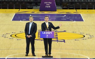 LOS ANGELES, CA - MAY 10: Los Angeles Mayor Eric Garcetti and LA 2024 Chairman Casey Wasserman hold a news conference on the Los Angeles Lakers hard court floor inside Staples Center, one of the proposed venue, after a full day of meeting with IOC Evaluation Commission who in Los Angeles to tour the Los Angeles 2024 Summer Olympic venues May 10, 2017, in Los Angeles, California. (Photo by Kevork Djansezian/Getty Images) *** Local Caption *** Eric Garcetti; Casey Wasserman