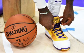 EL SEGUNDO, CA - SEPTEMBER 27: The sneakers worn by LeBron James #23 of the Los Angeles Lakers during media day on September 27, 2019 at the UCLA Health Training Center in El Segundo, California. NOTE TO USER: User expressly acknowledges and agrees that, by downloading and/or using this photograph, user is consenting to the terms and conditions of the Getty Images License Agreement. Mandatory Copyright Notice: Copyright 2019 NBAE (Photo by Juan Ocampo/NBAE via Getty Images)