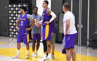 EL SEGUNDO, CA - DECEMBER 21: Kyle Kuzma #0 of the Los Angeles Lakers looks on during all access practice on December 21, 2019 at UCLA Health Training Center in El Segundo, California. NOTE TO USER: User expressly acknowledges and agrees that, by downloading and/or using this Photograph, user is consenting to the terms and conditions of the Getty Images License Agreement. Mandatory Copyright Notice: Copyright 2019 NBAE (Photo by Andrew D. Bernstein/NBAE via Getty Images)