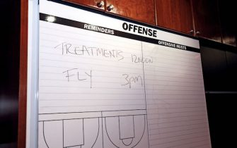 MIAMI, FL - JULY 18:  A blackboard is shown at the practice facillity of the Miami Heat on July 18, 2013 in Miami, Florida.  NOTE TO USER: User expressly acknowledges and agrees that, by downloading and or using this photograph, User is consenting to the terms and conditions of the Getty Images License Agreement. Mandatory Copyright Notice: Copyright 2013 NBAE (Photo by NBA Photos/NBAE via Getty Images)