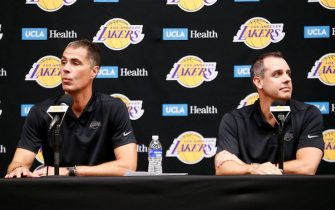 EL SEGUNDO, CA - SEPTEMBER 27: General Manager Rob Pelinka and Head Coach Frank Vogel of the Los Angeles Lakers speak to the media during media day on September 27, 2019 at the UCLA Health Training Center in El Segundo, California. NOTE TO USER: User expressly acknowledges and agrees that, by downloading and/or using this photograph, user is consenting to the terms and conditions of the Getty Images License Agreement. Mandatory Copyright Notice: Copyright 2019 NBAE (Photo by Chris Elise/NBAE via Getty Images)