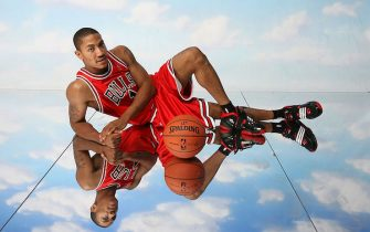 TARRYTOWN, NY - JULY 29: Derrick Rose #1 of the Chicago Bulls poses for a portrait during the 2008 NBA Rookie Photo Shoot on July 29, 2008 at the MSG Training Facility in Tarrytown, New York. NOTE TO USER: User expressly acknowledges and agrees that, by downloading and or using this photograph, User is consenting to the terms and conditions of the Getty Images License Agreement. Mandatory Copyright Notice: Copyright 2008 NBAE (Photo by Nathaniel S. Butler/NBAE via Getty Images)