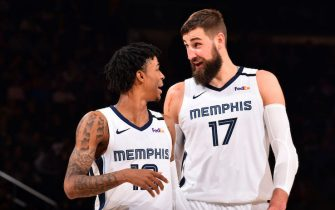NEW YORK, NY - JANUARY 29: Ja Morant #12, and Jonas Valanciunas #17 of the Memphis Grizzlies talk to each other during the game against the New York Knicks on January 29, 2020 at Madison Square Garden in New York City, New York.  NOTE TO USER: User expressly acknowledges and agrees that, by downloading and or using this photograph, User is consenting to the terms and conditions of the Getty Images License Agreement. Mandatory Copyright Notice: Copyright 2020 NBAE  (Photo by Jesse D. Garrabrant/NBAE via Getty Images)