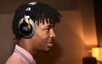 NEW YORK, NEW YORK - JUNE 18:  Ja Morant debuts a new pair of custom JBL headphones at JBL Full-Court Press, an exclusive panel discussion with professional basketball players and top pick draftees moderated by Jay Williams of The Players' Tribune. The event was held at the HARMAN Store on June 18, 2019 in New York City. (Photo by Theo Wargo/Getty Images for JBL)