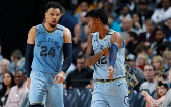 MEMPHIS, TN - JANUARY 26: Ja Morant #12 of the Memphis Grizzlies talks to Dillon Brooks #24 after drawing a foul in the second half of a game against the Phoenix Suns at FedExForum on January 26, 2020 in Memphis, Tennessee. The Grizzlies defeated the Suns 114-109. NOTE TO USER: User expressly acknowledges and agrees that, by downloading and or using this Photograph, user is consenting to the terms and conditions of the Getty Images License Agreement. (Photo by Joe Robbins/Getty Images)