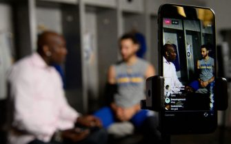 OAKLAND, CA - MAY 31: NBA Legend Gary Payton chats with Stephen Curry #30 of the Golden State Warriors during  Instagram Live at practice and media availability as part of the 2017 NBA Finals on May 31, 2017 at ORACLE Arena in Oakland, California. NOTE TO USER: User expressly acknowledges and agrees that, by downloading and or using this photograph, User is consenting to the terms and conditions of the Getty Images License Agreement. Mandatory Copyright Notice: Copyright 2017 NBAE (Photo by David Dow/NBAE via Getty Images)